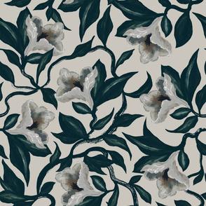 Moody Floral Vine Flowers | Warm Grey | Hand Drawn
