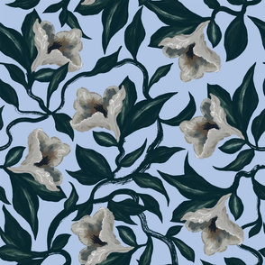 Moody Floral Vine Flowers | Periwinkle | Hand Drawn