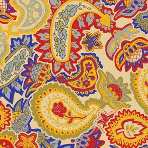 Scattered Allover Paisley Trendy1920s Colors