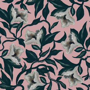Moody Floral Vine Flowers | Dusty Rose | Hand Drawn