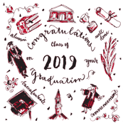 Class of 2019 Graduation red and black Pattern