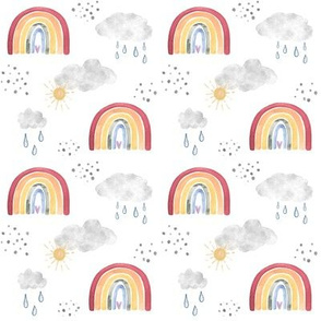 Handpainted Watercolour Rainbows with Sun, Clouds and Rain