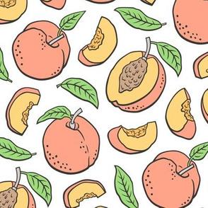 Peaches Peach Fruits on White