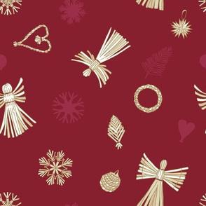 Vector Christmas Straw Ornaments.