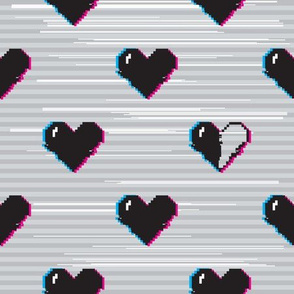 Glitch black gaming hearts