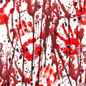 3 blood splatter bloody hand prints palm bloodstain dripping red maroon liquid white horror Halloween bleeding murder paint clot macabre leaking victim wet death scary horrifying morbid macabre spooky eerie frightening violence hurt serial killer inspired