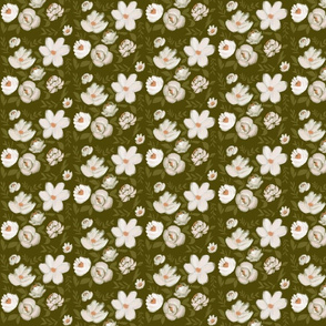 Moody Florals - Blush on Dark Green - Small Scale