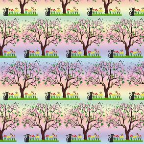 Tree in Spring! - rainbow, brick