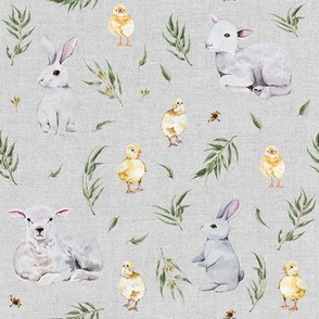 Easter Friends with Eucalyptus // Gray Linen