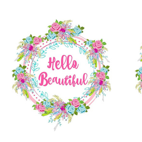 hello beautiful rose feather wreath- spaced XL 15