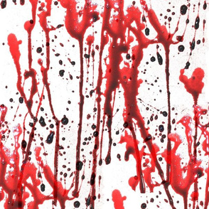 1 blood splatter bloodstain dripping red maroon liquid white horror Halloween bleeding murder paint clot macabre leaking wet death scary horrifying morbid macabre spooky eerie frightening violence hurt serial killer inspired monochrome crime scene menstru