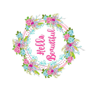 hello beautiful HORIZONTAL rose feather wreath- spaced XL 19