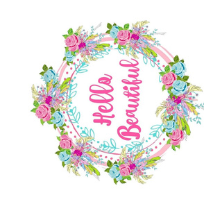 hello beautiful HORIZONTAL rose feather wreath- spaced XL 20x18