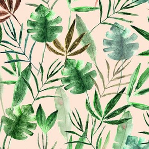 Tropical jungle on blush pink || watercolor palm leaves