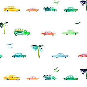 Havana traffic • watercolor cars pattern for baby boy