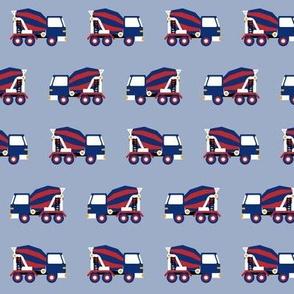 mixer truck - blue red grey