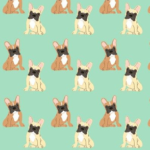 Two sweet French Bulldogs - Frenchie fabric