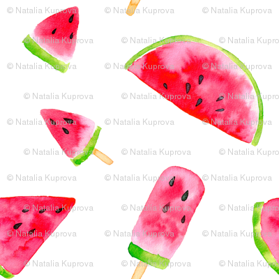 watermelon slices -medium scale watercolor painted summer food graphic