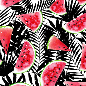 watermelon slices, palm leaves -large scale watercolor painted summer food graphic
