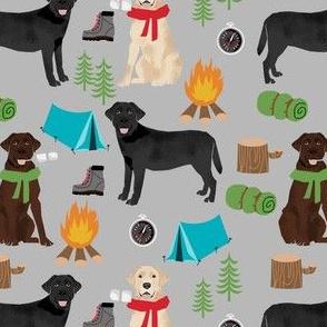 labrador camping fabric - chocolate lab, yellow lab, black lab fabric - dog fabric, dogs - grey