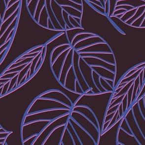 Neon leaf pattern