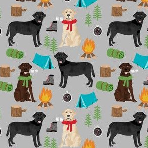 SMALL - labrador camping fabric - chocolate lab, yellow lab, black lab fabric - dog fabric, dogs - grey