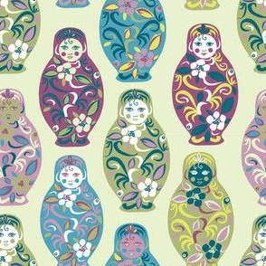 Russian dolls in green and purple