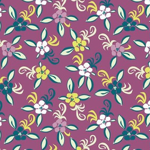 cute floral on aubergine