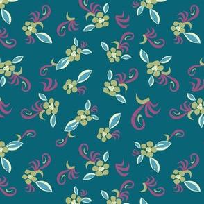 bright floral on teal