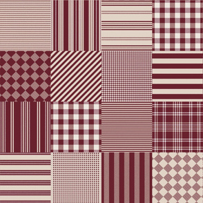 Nantucket Picnic Blanket ~ Faux Flannel ~ Cranberry and Brouillard
