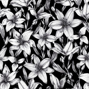Black and white ink lilies