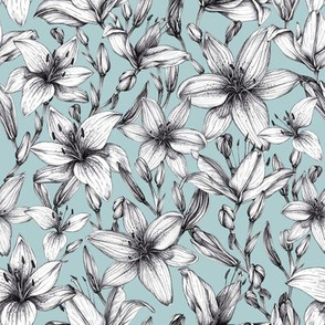Black and white ink lilies. Soft green background