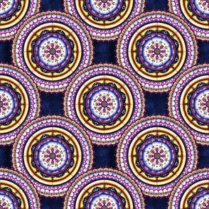 Royal blue, pink and yellow mandala