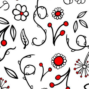 floral black and red