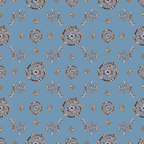 Modern Baroque . Muted blue background