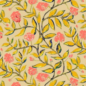 Gold Vines with Pink Flowers on Creamy Beige