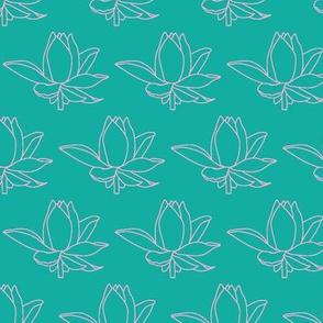 Lotus Aqua Pink Outlines