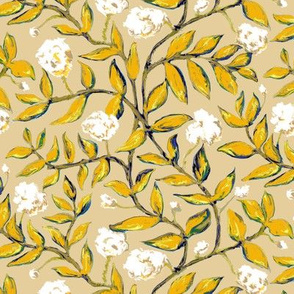 Gold Vines with White Flowers on Creamy Beige