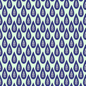 Blue droplet scales. Mint background