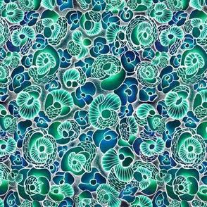 Stone flowers. Aqua blue