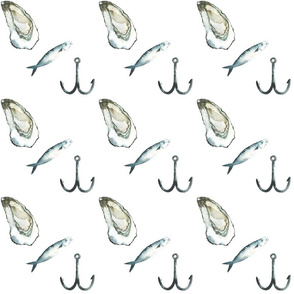 Oyster, Hook and Fish Diagonal