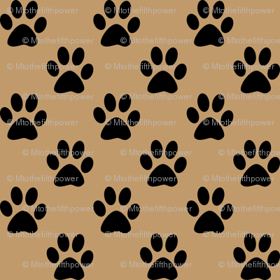 One Inch Black Paw Prints on Camel Brown