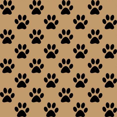 One Inch Black Paw Prints on Camel Brown fabric by mtothefifthpower on Spoonflower - custom fabric