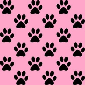 One Inch Black Paw Prints on Carnation Pink