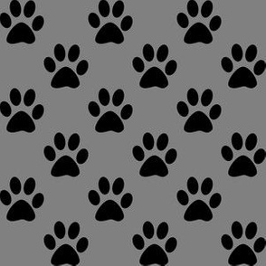 One Inch Black Paw Prints on Medium Gray