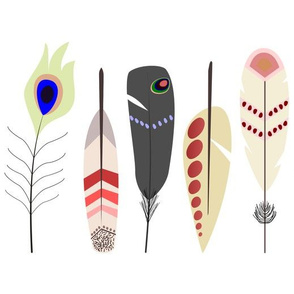 Large painted feathers