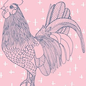 Rooster Outline Pink Blue Crosses