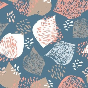 flock in blue and coral