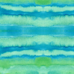 green blue watercolor painted abstract - large scale graphic