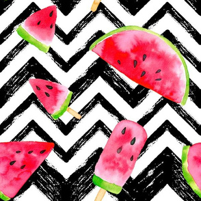 watermelon slices - large scale watercolor painted, chevron summer graphic